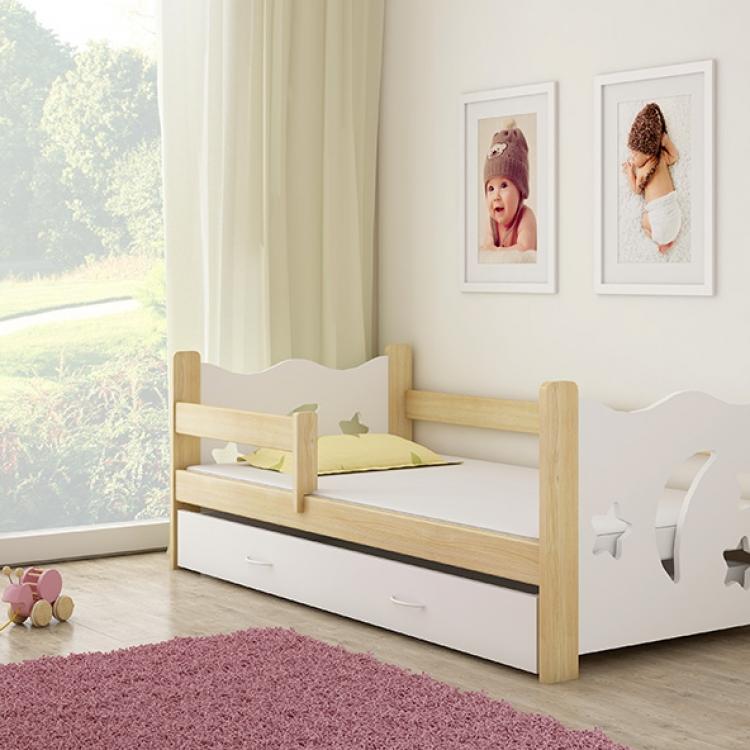 Pine wood krevet za decu sa fiokom beli 160x80