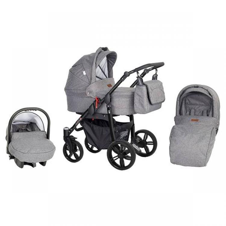 Kunert Silver kolica za bebe - crni ram, set 2u1