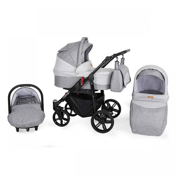 Kunert Silver kolica za bebe - crni ram, set 3u1