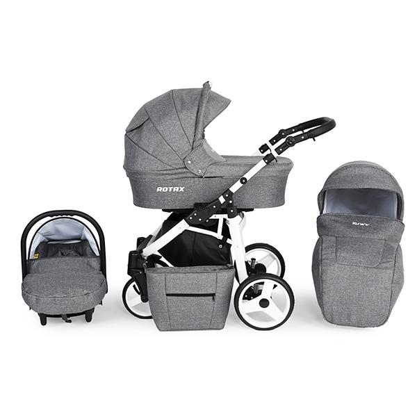 Kunert Rotax kolica za bebe - beli ram, set 3u1