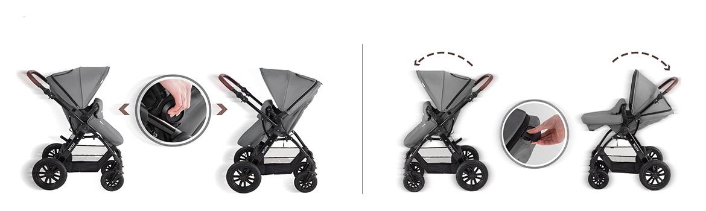 Kinderkraft Moov kolica za bebe set 3u1 grey