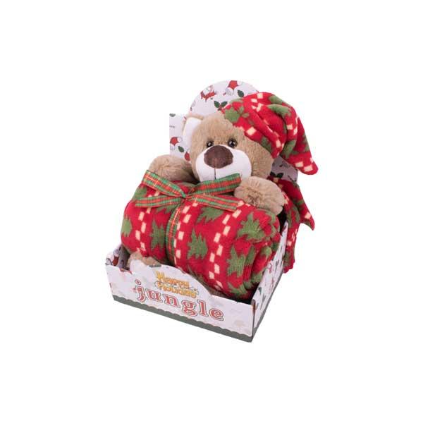 """Poklon set ćebe + igračka """"Novogodišnji meda"""""""